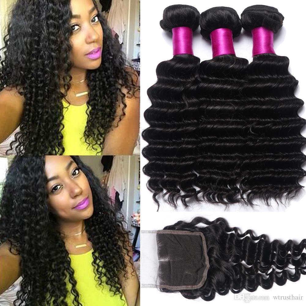 2018 Brazilian Hair Weave Deep Wave 3 Bundles With 4x4 Lace Closure