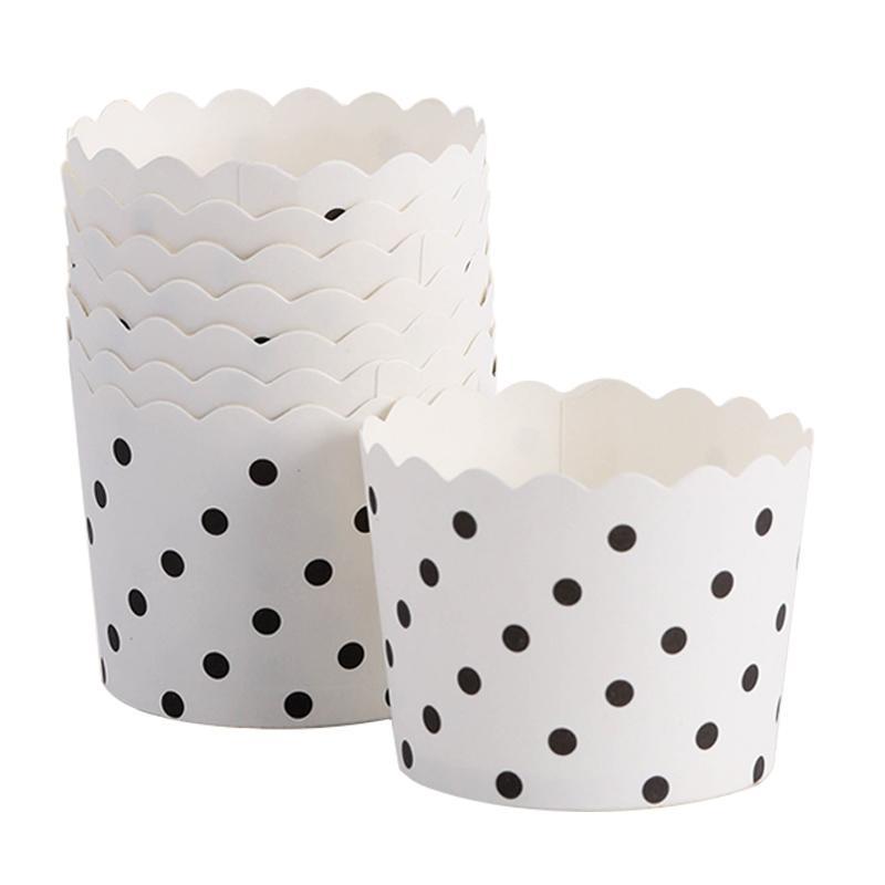 Grosshandel 50 Stucke Weiss Hintergrund Schwarz Punkte Muffin Cupcake