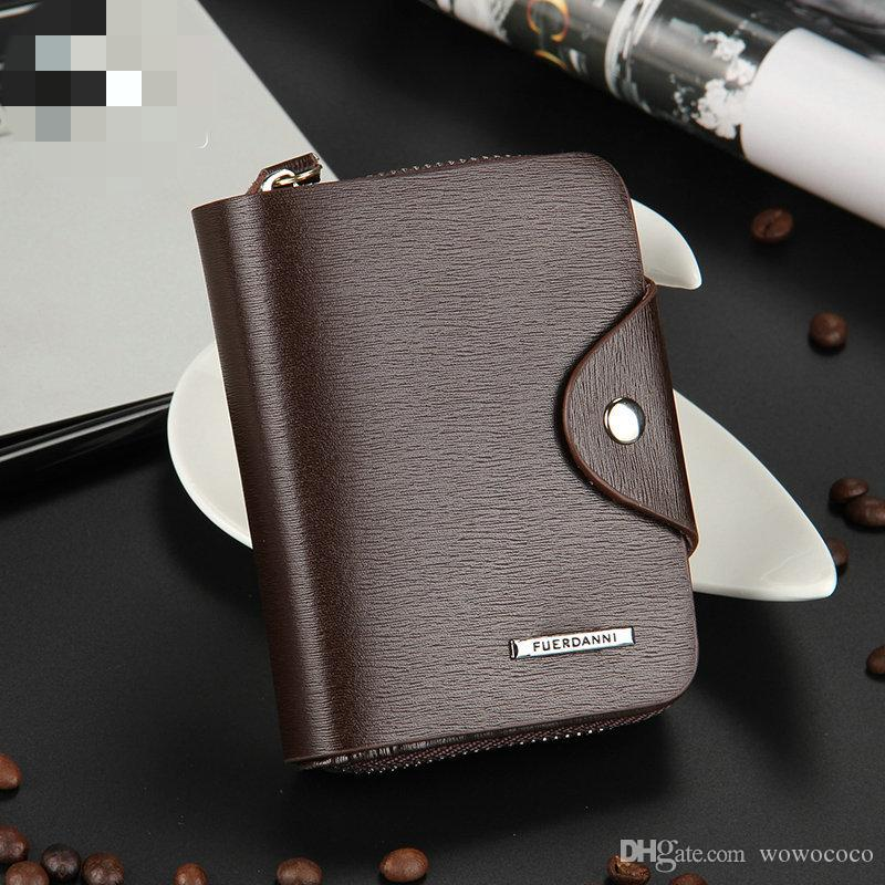 Men Hasp Zipper Short Leather Wallets Magnet 3 Folded Horizontal Wallet Black Brown Color icloud A001