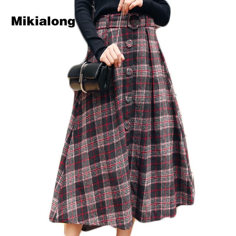 the best attitude 9a6eb a4485 Mikialong 2017 Vintage Hohe Taille Langen Maxirock für Frauen Korean  Fashion Wolle Plaid Rock mit Gürtel Lose Eine Linie Skater