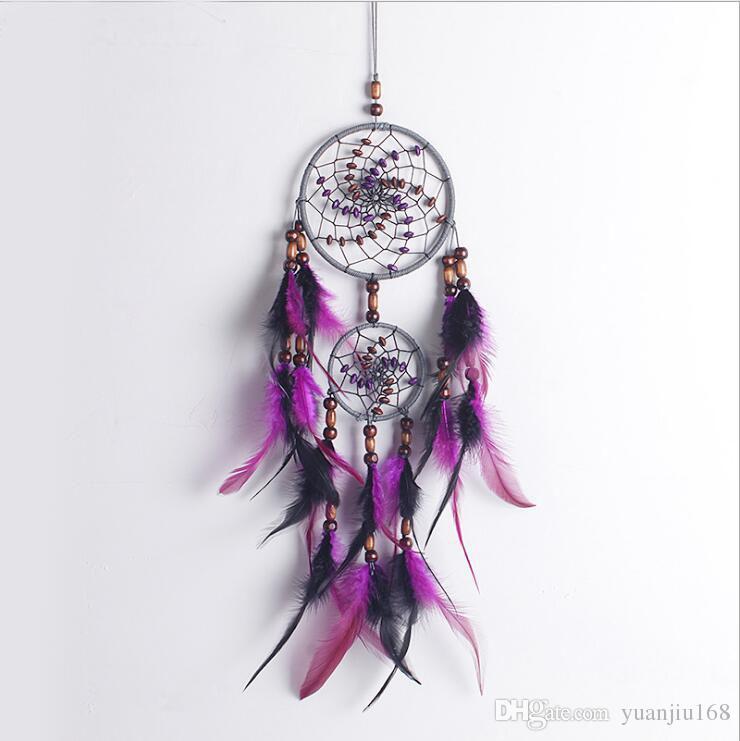 Design de mode à la main 4 cercle Dream Catcher avec plume Tenture murale Decor Room Craft ornement dreamcatcher Cadeaux de Noël GA135