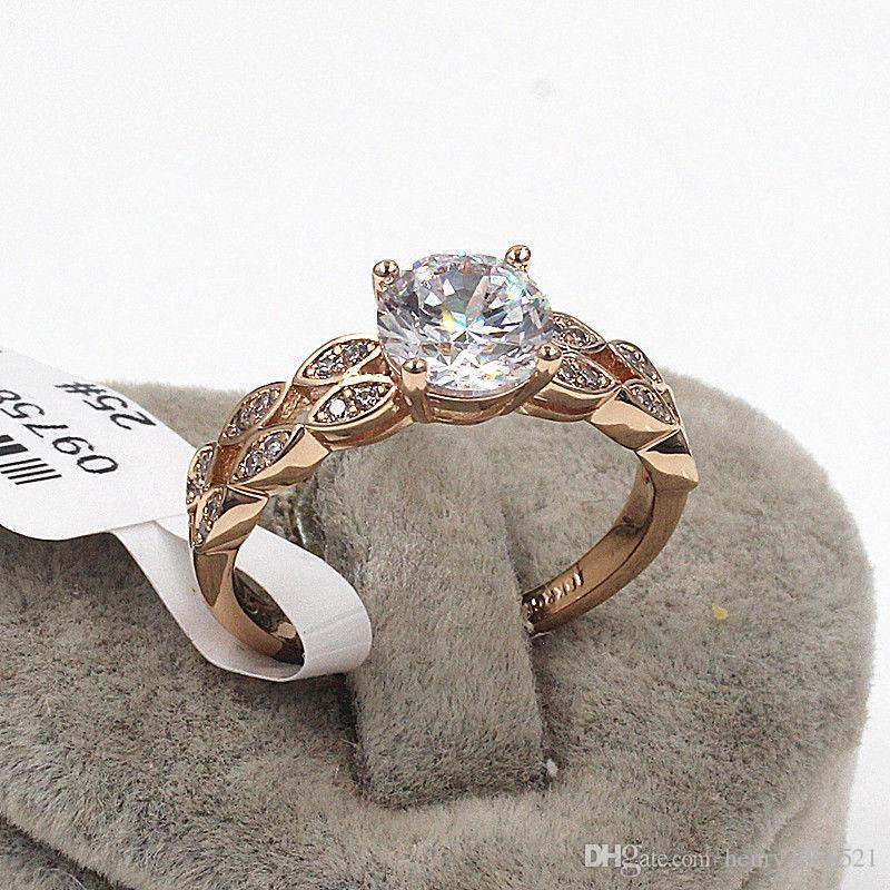 Classical Wedding Engagement Anniversary 18K rose gold 4 ct filled with Diamond Crystals ring size 8.5