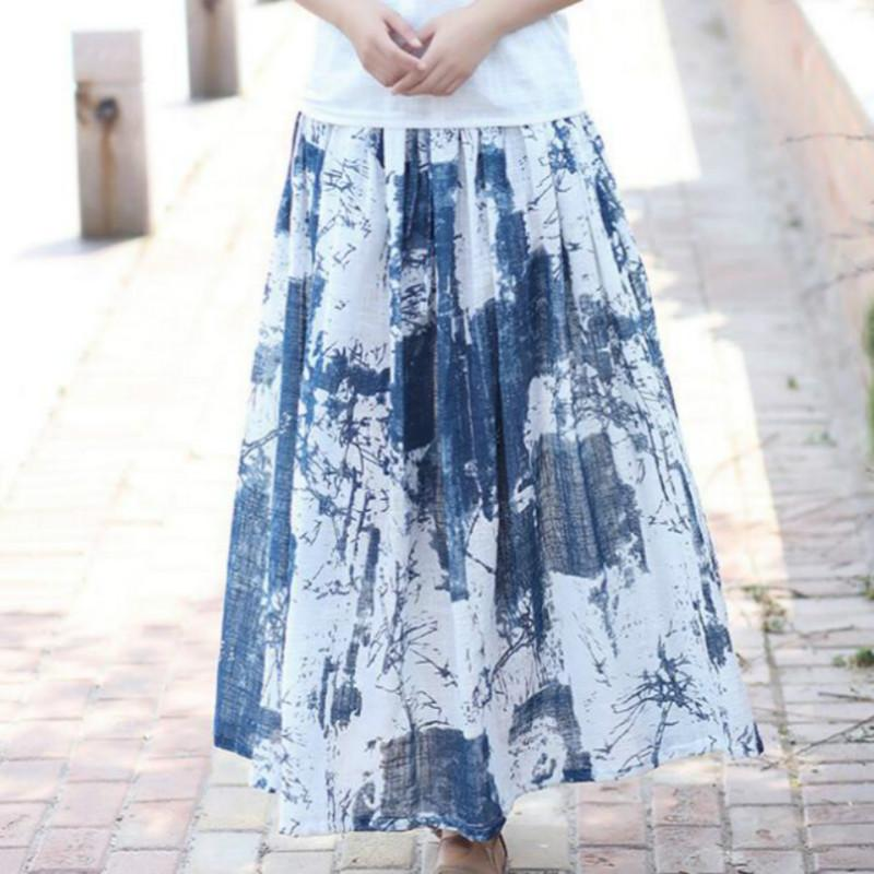 7743a2900d21 2019 2017 Summer New National Style Ink Printing Art Original Linen Skirt  Midi Maxi Skirts Womens Elastic Belt Long Pleated Skirts From Watchlove, ...