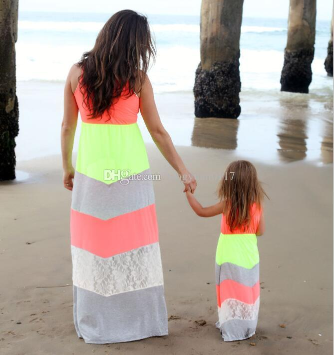c5cdf93f4217a Mommy and Me Family Matching Mother Daughter Dresses Clothes Striped Mom  and Daughter Dress Kids Parent Child Outfits Plus Size XXXL