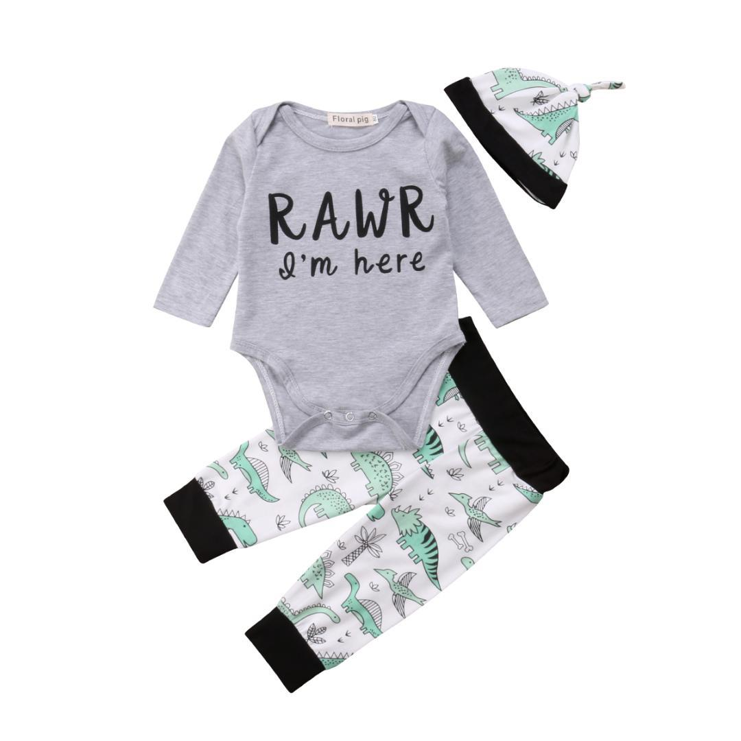 f7fab3c0c 2019 Newborn Infant Baby Boy Clothes Set Long Sleeve Bodysuit Tops Dinosaur  Pant Hat Outfits 3 18 Months From Oliveer, $41.96 | DHgate.Com