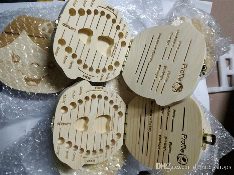 Organizador de la caja de dientes para niños Bebé Ahorre los dientes de leche Almacenamiento de madera Recogida de los dientes Caja de cordón para la imagen de la muchacha del niño Caja de madera