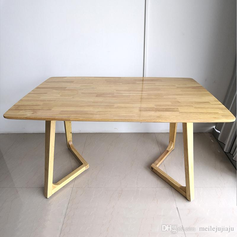 2018 Nordic Simple Solid Wood Dining Table Post Modern Simple Rubber Wood  Household Rectangular Dining Table Theme Restaurant Table From  Meilejujiaju, ...