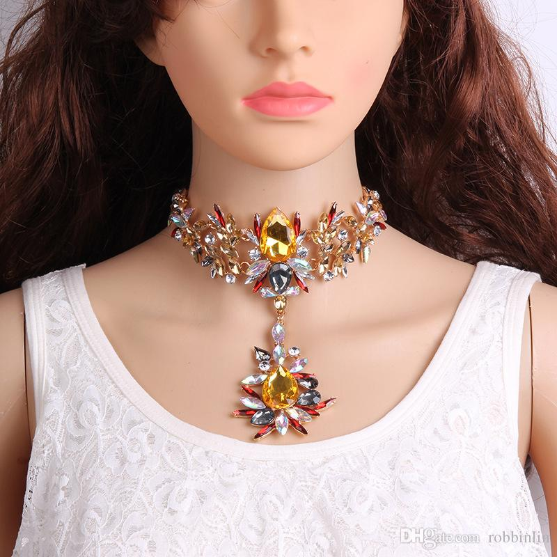 Crystal & Rhinestone Flower Necklace Chain Bling Jewelry Choker Necklace with Big Glass Beads for Women Girls