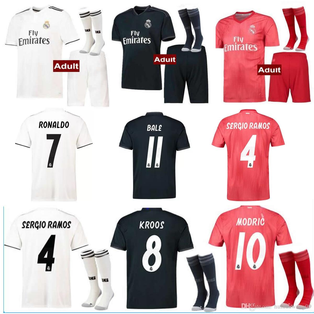 596aea481feaf Compre HOMENS Kits + Meias 18 19 Real Madrid Ronaldo Camisola De Futebol  Terceira Distância 2018 2019 Asensio MODRIC Fardas SERGIO RAMOS ISCO Camisas  De ...