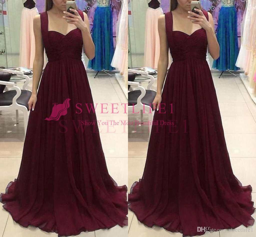 260f7c99ef2 2018 Simple Burgundy Chiffon Prom Dresses A Line Spaghetti Straps Chiffion  Floor Length Formal Occasion Evening Dresses Custom Made Puffy Prom Dresses  Short ...