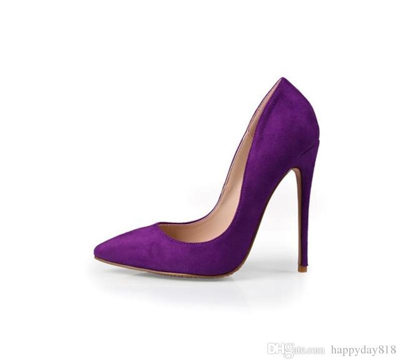 26d901181142 Real Photo Genuine Leather Lady Purple Suede Point Toe Lady High Heel Shoes  Pump Size 33 43 Ladies Heels Wedding 12cm 10cm 8cm Jelly Sandals Platform  ...