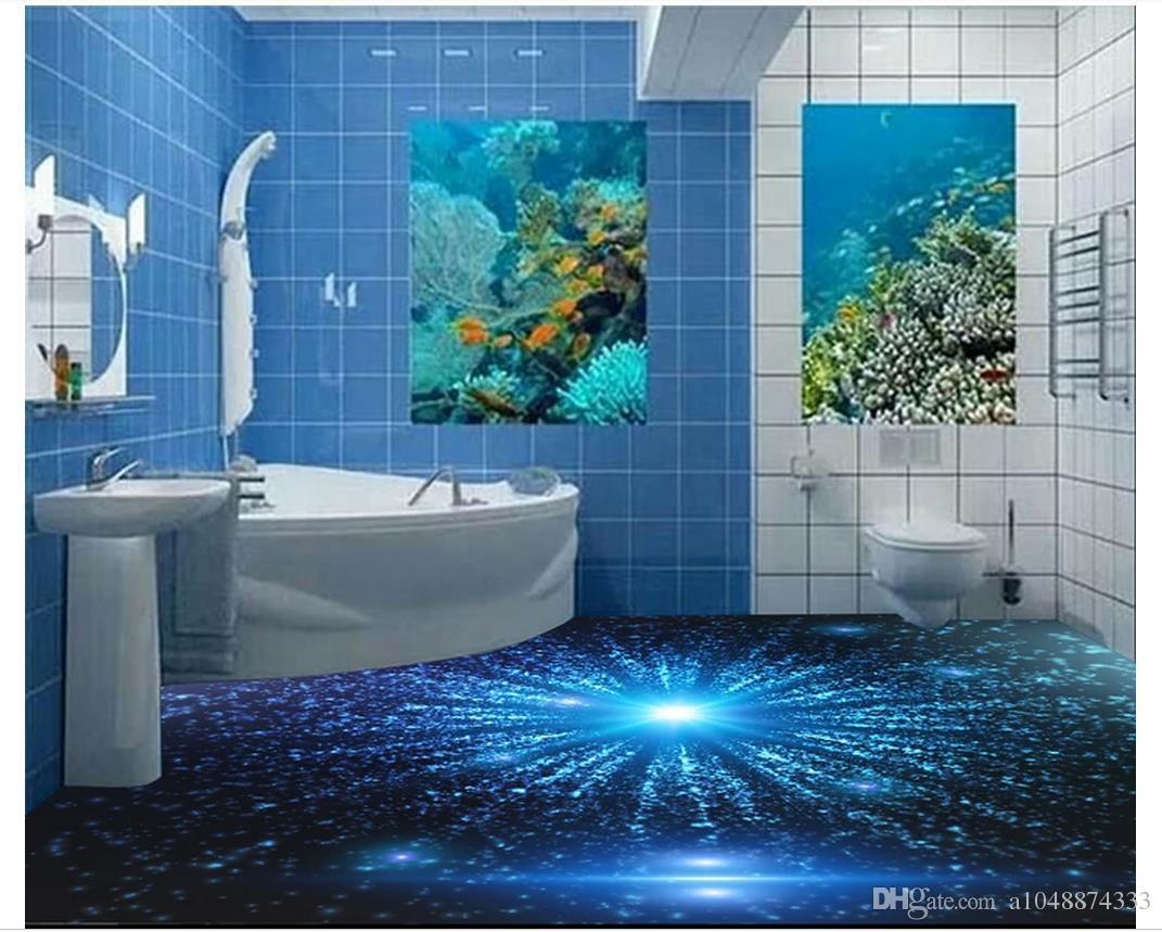 Auto-adesivo 3D papel de parede personalizado pintura de piso 3D papel de parede 3D Starlight Blu-ray athroom sala chão papel de parede decoração da sua casa