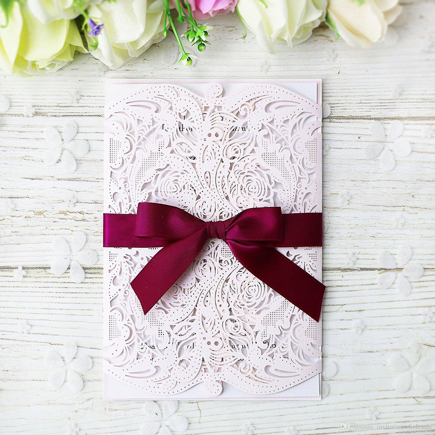 Laser Cut Free Print Invitations Card With Ribbons For Wedding Bridal Shower Engagement Birthday Graduation Invitation Cards Happy Of