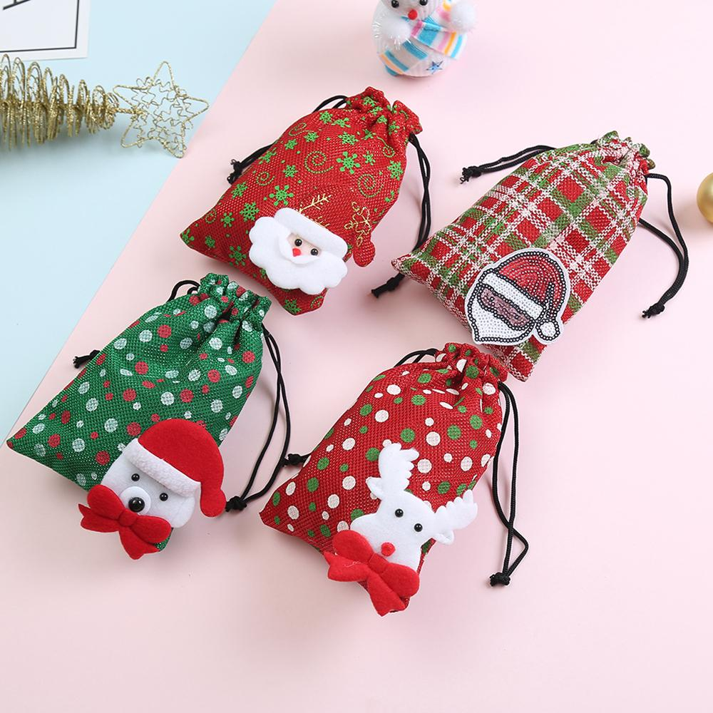 a1f95dfb9f93 1PC Kids Christmas Gift Candy Drawstring Bag Santa Claus Packing Bag Kids  Coin Money Pocket Drawstring Storage Wallet