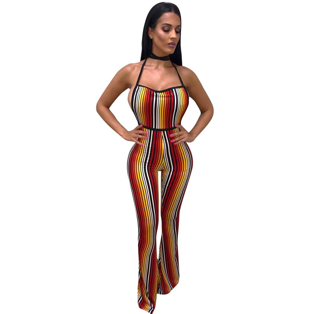 Sexy Women Jumpsuit Colorful Stripes Halter Backless Flared Pants Slim Playsuit Rompers Orange Combinaison Femme 2018 Clubwear