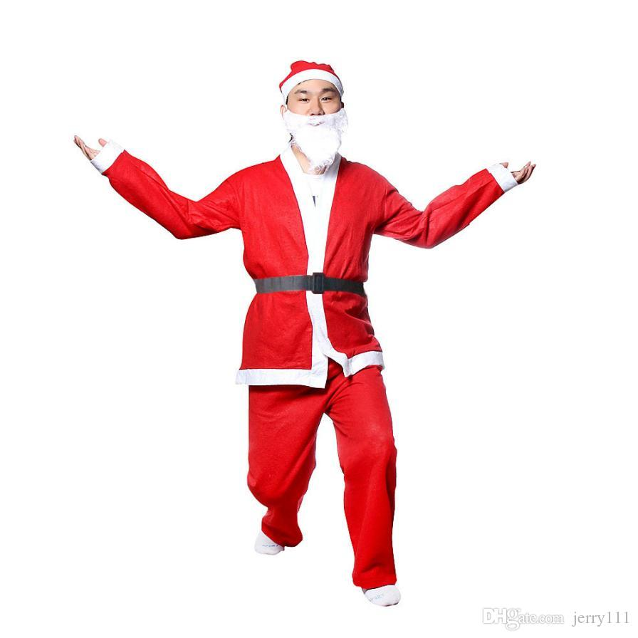 Plus Size Christmas Costumes.Plus Size Adult Costume Santa Claus Suit New Arrival Christmas Costumes For Men Coat Pants Beard Belt Hat Set Christmas Set Le99