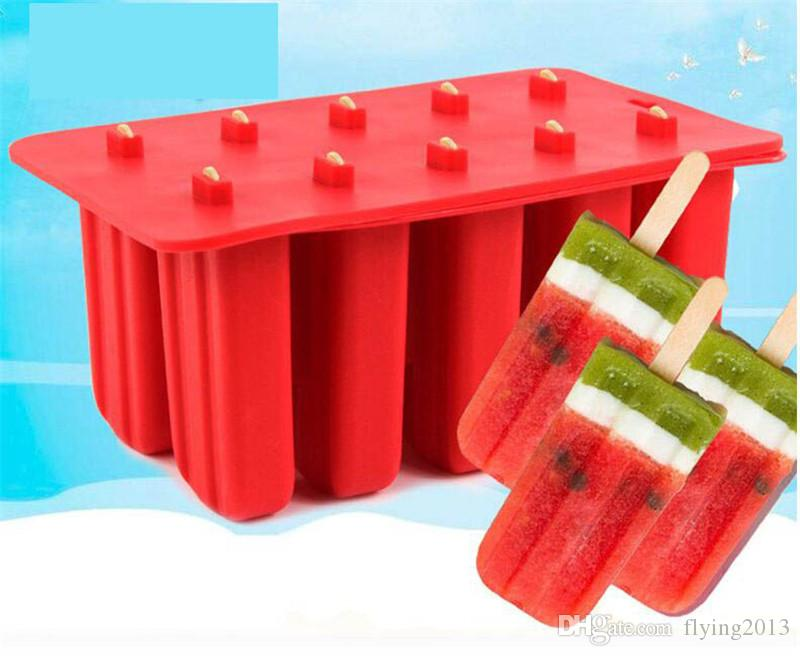 10 Cavity Silicone Ice Cream Mold Frozen Ice Cube Tray DIY Popsicle Molds Lolly Maker Holder with Free Ice Cream Sticks
