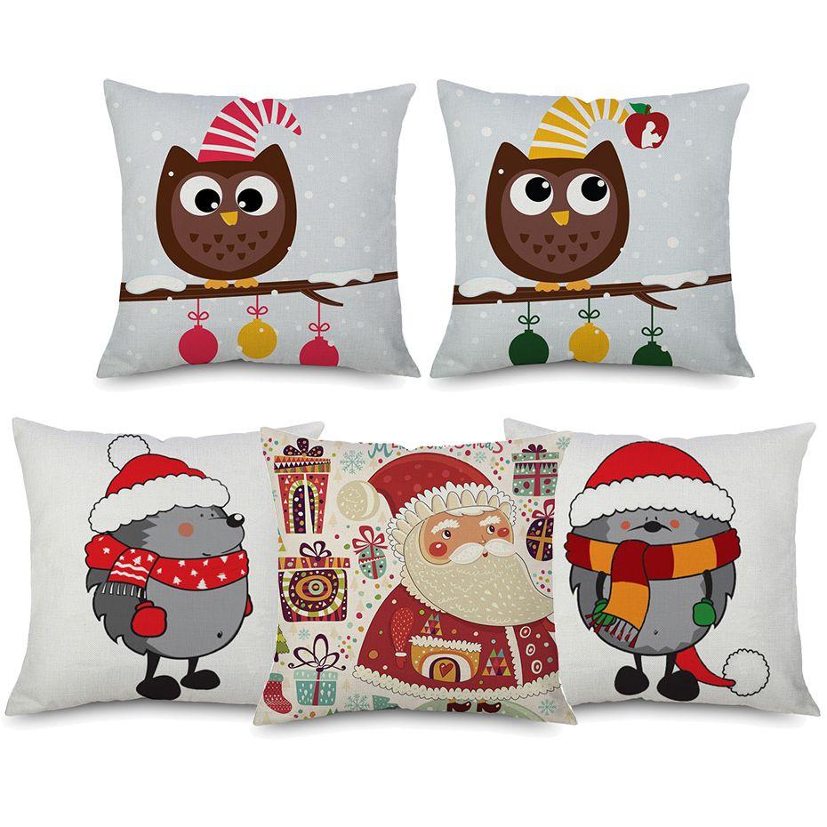 Merry Christmas Animals.8 Styles Merry Christmas Animals Cushion Covers Cartoon Owl Hedgehog Santa Claus Festival Cushion Cover Sofa Decorative Linen Pillow Case