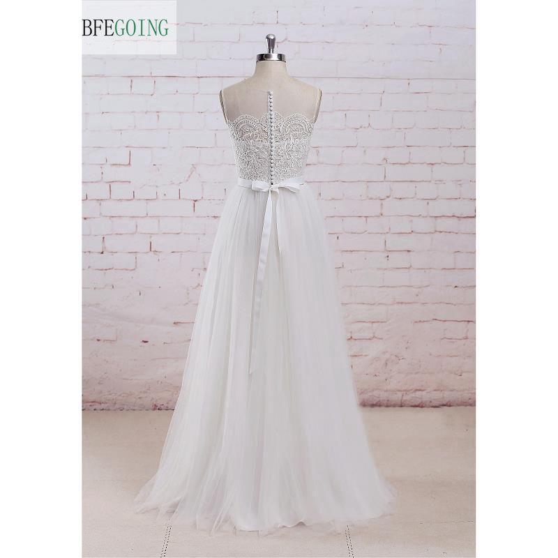 Avorio semplice A-Line foto reali gioiello tulle illusione telai con fiocco abiti da sposa in pizzo indietro vedere attraverso pavimento lunghezza abito da sposa