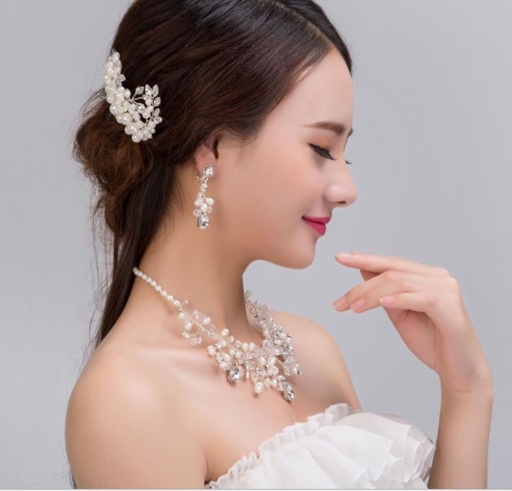Nefis inci kristal inci kolye seti Tiara Tarak düğün gelin takı