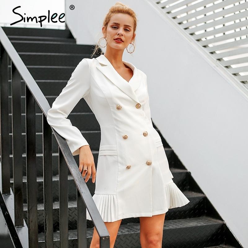 Acquista Simplee Elegante Volant Doppio Petto Donne Abito Ufficio Casual  Blazer Bianco Abito 2018 Autunno Inverno Slim Suit Signore Abiti D1891703 A   48.15 ... ca3c4c8977b