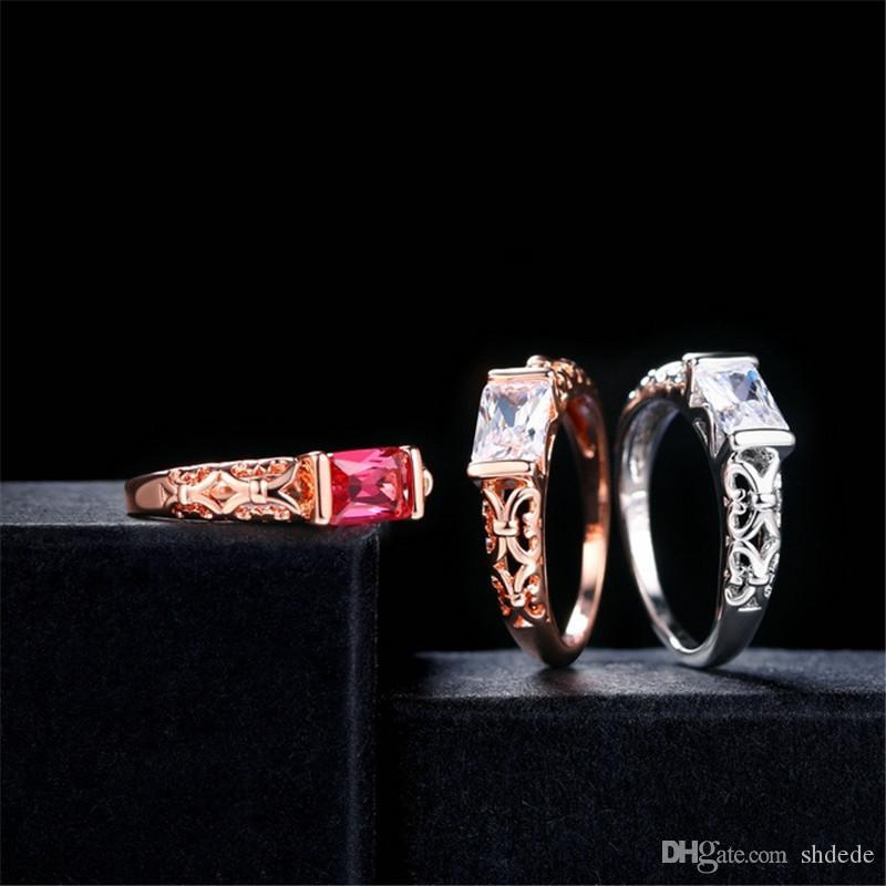 De haute qualité CZ Bagues couleur or rose marque de mode rétro bijoux en cristal pour les femmes R367