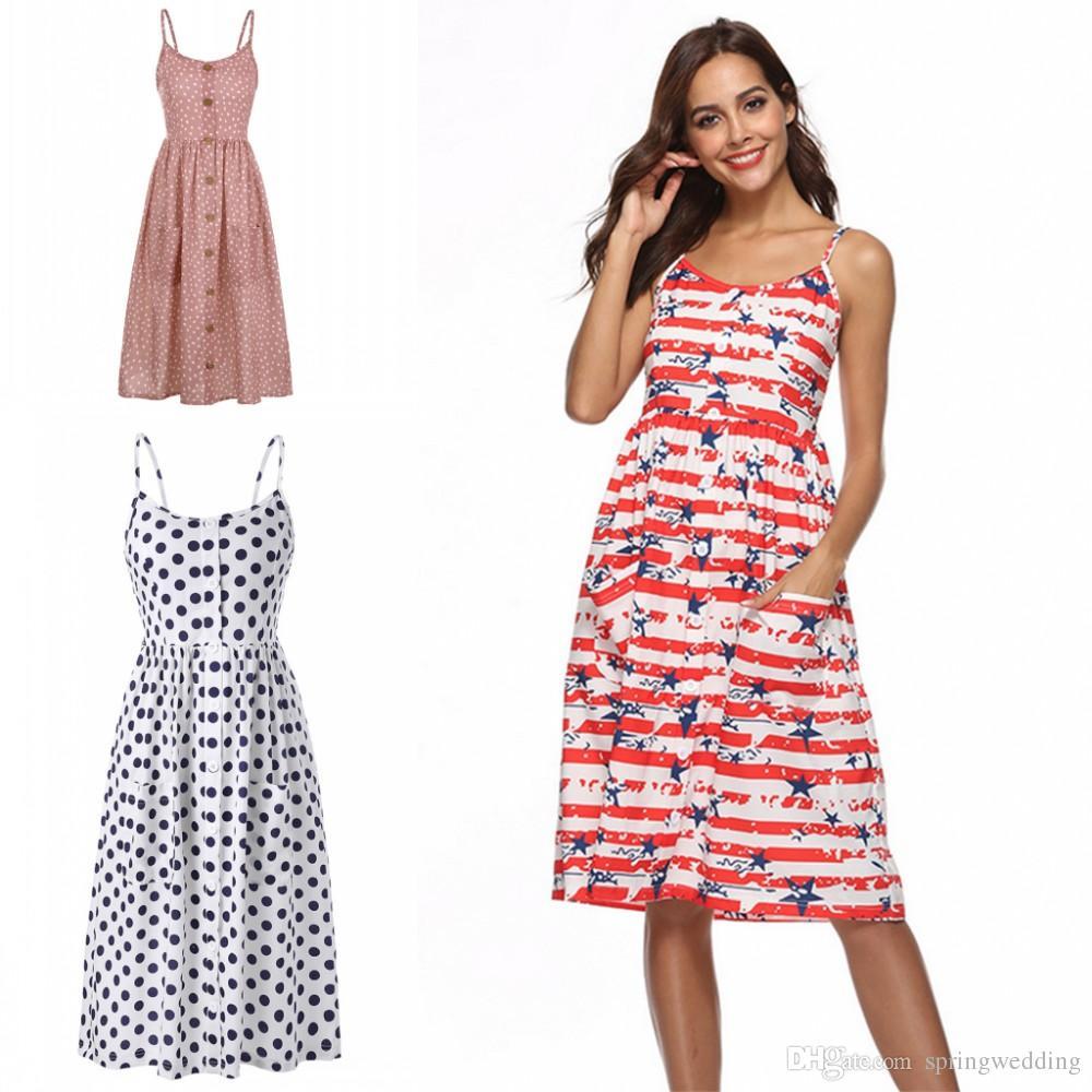 2018 Summer Polka Dots Women Casual Dresses Sleeves Midi Calf Women