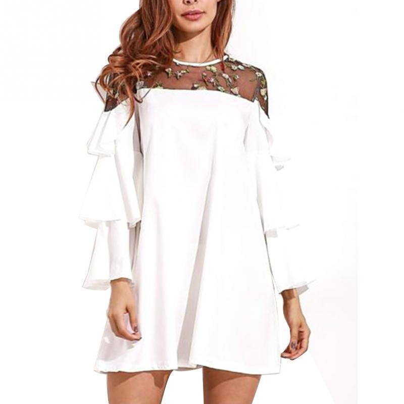 Women A Line Dress Frilled Tops Embroidery Lace Stitching Dress
