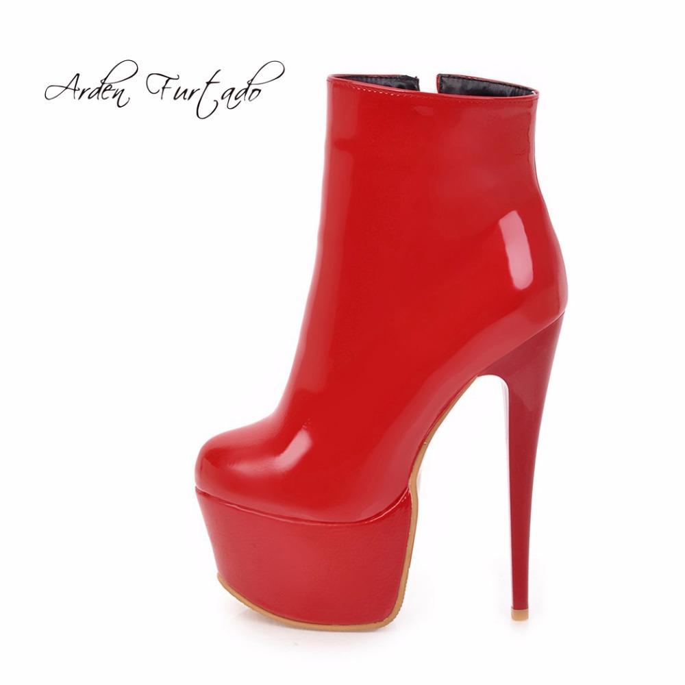30bd41224 Compre 2018 Primavera Outono Zipper Ankle Boots Sapatos Para Mulher De Salto  Alto 16 Cm Plataforma Vermelho Branco Sexy Stilettos Rodada Toe Botas De ...