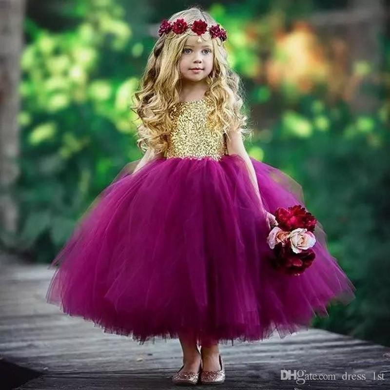 23d15db5f39d Lovely Princess Flower Girl Dress For Wedding Kids Jewel Neck Shiny Gold  Sequined Bodice Purple Tulle Ball Gown Skirt Flowergirl Dresses Light Pink  Flower ...