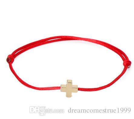 Lucky Golden Cross Bracelet For Women Red String Adjustable Bracelet DIY Jewelry
