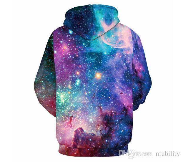 Hoodies 3D Camisolas Dos Homens Das Mulheres Casuais Espaço Galaxy lobo leão Imprimir Hoodie Universo Céu Estrelado Gráfico Unisex Pullover frete grátis