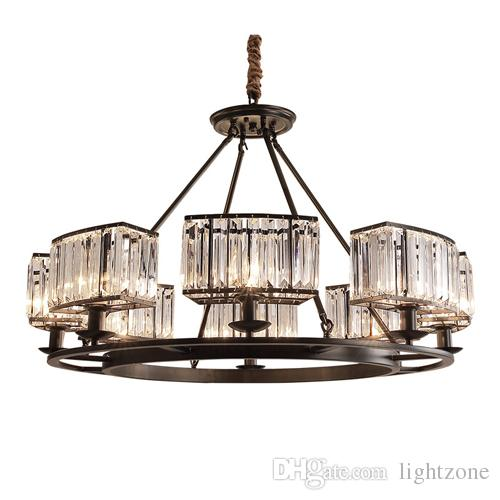 American crystal chandeliers living room restaurant crystal pendant lamps European country pendant lights bedroom black candle chandeliers