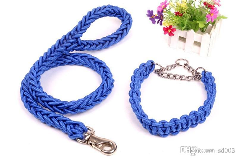 Nylon Pet Collars 360 Degree Rotary Metal Buckle Leashes Braided Puppy Eight strands Traction Rope Stout 13 5jn3 B