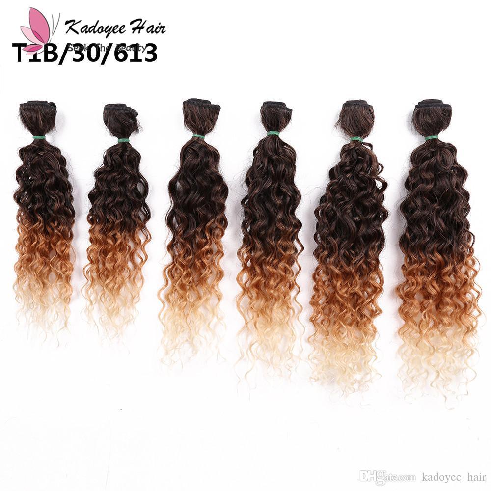 Jerry lockiges brasilianisches Haar bündelt 14-18inch / für vollen Kopf in synthetischen Haarverlängerungen ombre braun dunkel lila Haarwebart