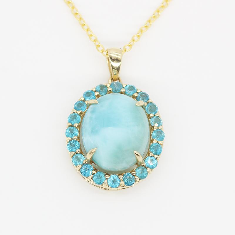 4.3ctw 9*7 Round Natural Larimar With 0.036ct Apatite 10K Yellow Gold With Chain Pendant