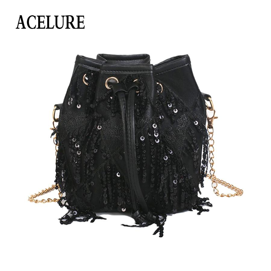 1a635275e3c3 ACELURE Simple Style Tassel Design Bucket Solid Color Pu Leather Metal  Strap Crossbody Bags All-Match Women Casual Shoulder Bag Shoulder Bags  Cheap Shoulder ...