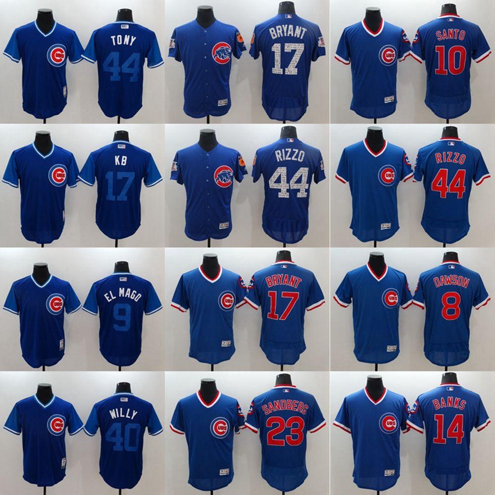 ec63dc183 Mens Chicago Jersey 17 Kris Bryant 44 Anthony Rizzo 9 Javier Baez 12 ...
