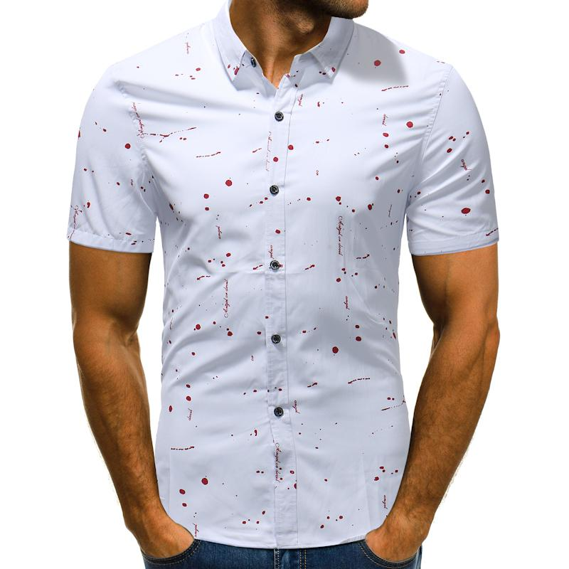 31458027885 2019 New Summer Short Sleeve Men S Shirt 2018 Casual Shirt Personality  Polka Dot Print Slim Fit Male Shirts Asian Large Size M XXL From Junqingy