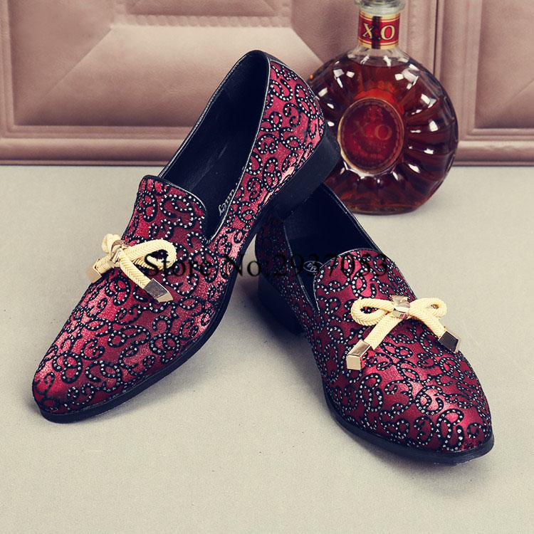 cd4681ba4556cc 2017 Top Quality Men Shoes Luxury Wine Red Rhinestone Studded Men Loafers  Bow Knot High Quality Loafers Wedding Flat Dress Online Clothes Shopping  Designer ...