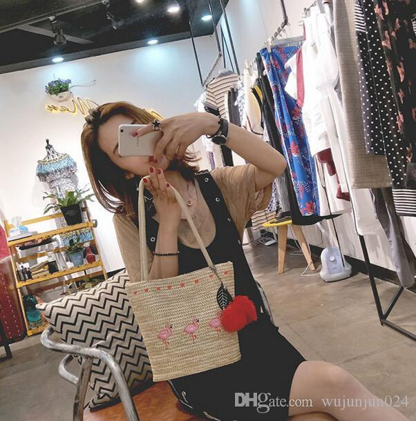 2018 New Embroidery Women's Hand Bag Large Straw Shoulder Bag Fashion Flamingo Beach Bags Big Tote Woven Bag