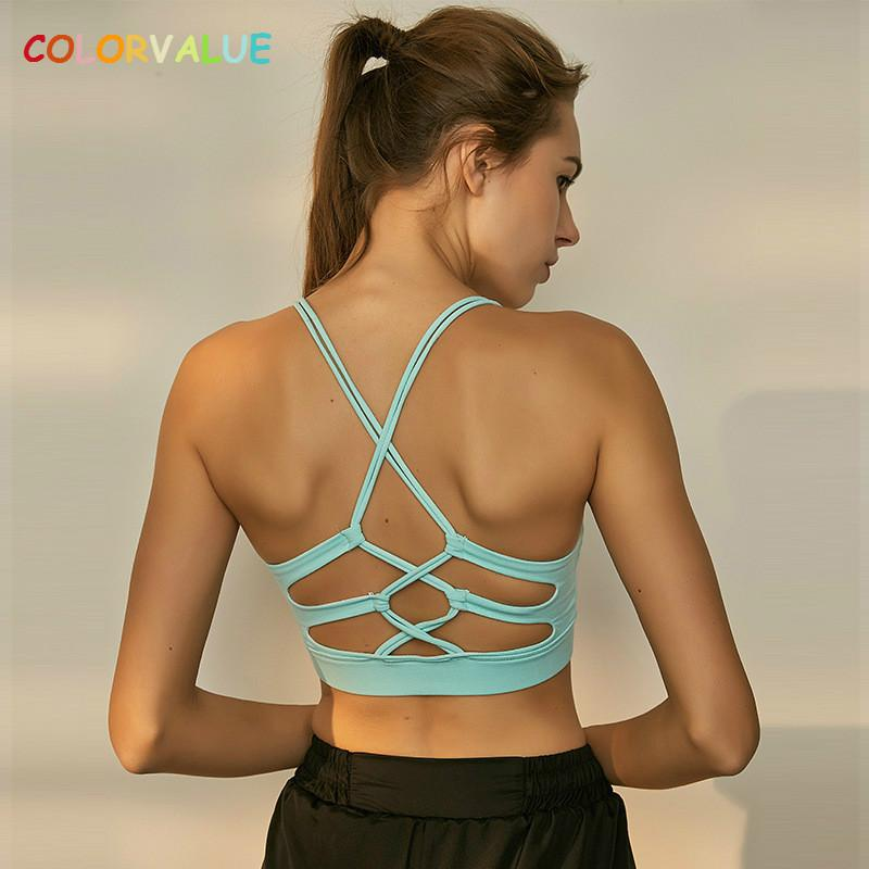 dce37411a81e5 Colorvalue Sexy Crisscross Fitness Yoga Bra Top Women Removable Pads ...