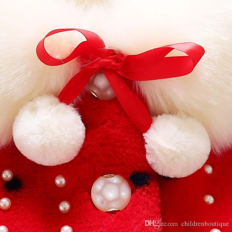Cute Kids Cappotti Neonate Faux Fur Fleece Cappotti Princess Winter Warm Scialle a maniche lunghe Giacca Parka Kids Girls Clothes Outwear bambini
