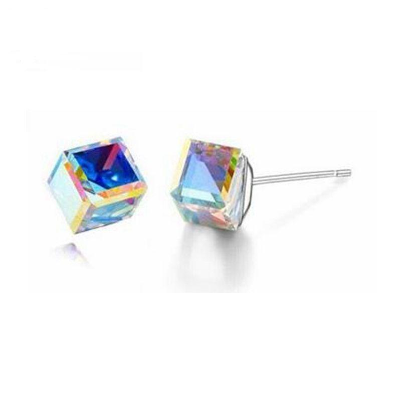 baf78ada3c87 2019 SWAROVSKI Crystal Personality Leisure Jewelry For Woman Fashion Cube Crystal  Stud Earrings Crystal From Swarovski Neutral Simple Bijoux From Chenli123