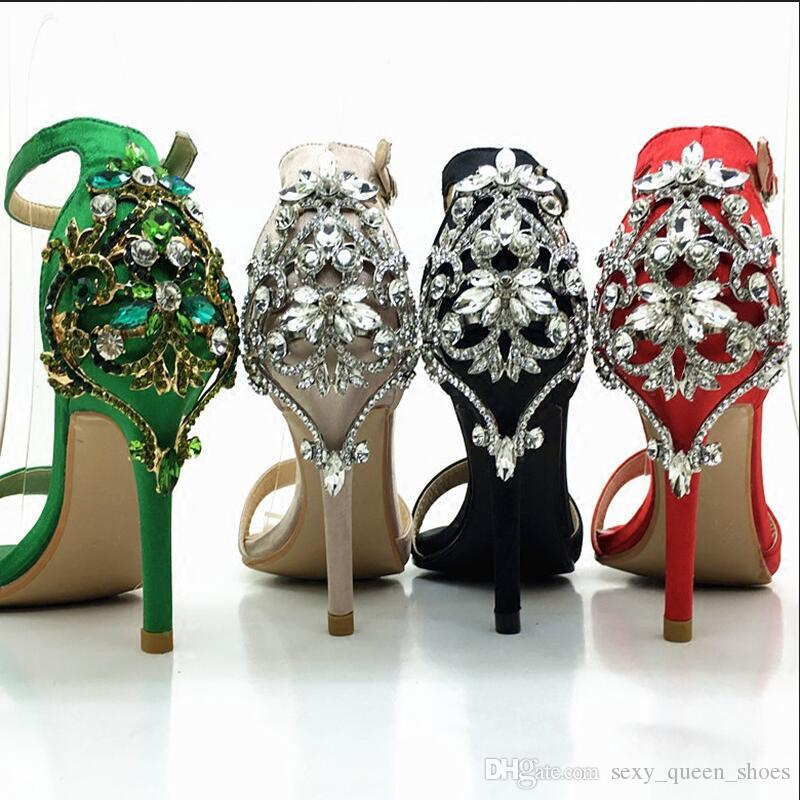 5b5b41674e 2018 NEW Occident Stage Show Shoes Women Fashion Sandals High Heeled Big  Rhinestone Sexy Vogue Summer Heels Ankle strap buckle wedding shoe