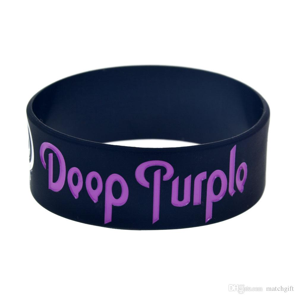 50 Teile / los Doop Lila Heavy Metal Music Band Silikon Armband 1 Zoll Breites Armband Tinte Gefüllt Logo