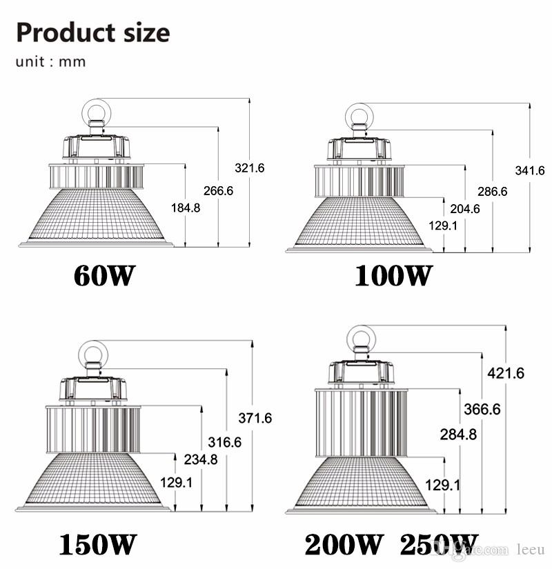 LED de alta luz de la bahía de 100W 150W 200W LED de la lámpara industrial Estadio Taller Luz Almacén de la fábrica iluminación del garage