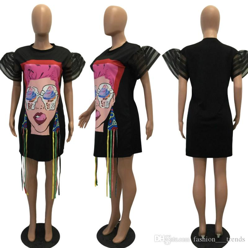 Сексуальная тенденция лето свободные лица печати Dress женщины О-образным вырезом кисточкой пляж мода платья повседневная женская Vestidos Clothing 2 цвета плюс размер M-XXL