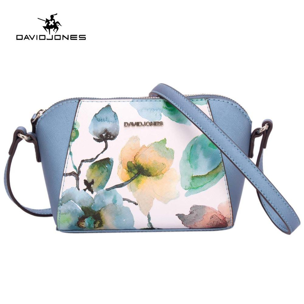 DAVIDJONES Women Floral crossbody bag small messenger mini saddle femal Shoulder Bags designer brand handbags evening purse