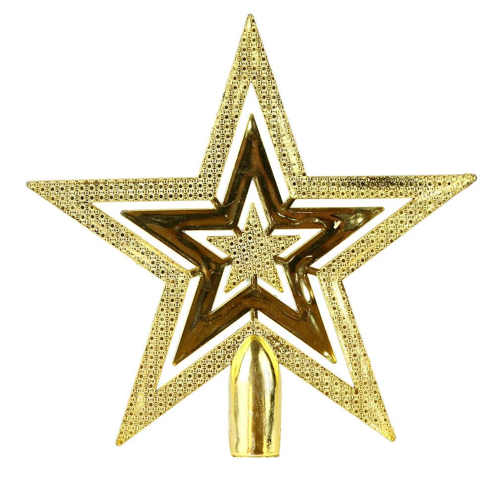 1pc Golden Star Christmas Tree Top Decoration Xmas Supplies 3 Size Selected Beautiful Home Decor A65